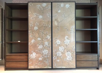 Hand-painted silk wallpaper on sliding doors. A project with Domus Creation Pte Ltd