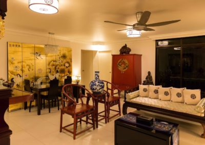 A living room styled in classic Chinese furniture