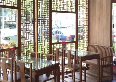 Lattice screens, dining tables & chairs at Soup Restaurant Holland V