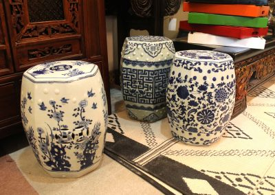 Blue & white porcelain drum stools