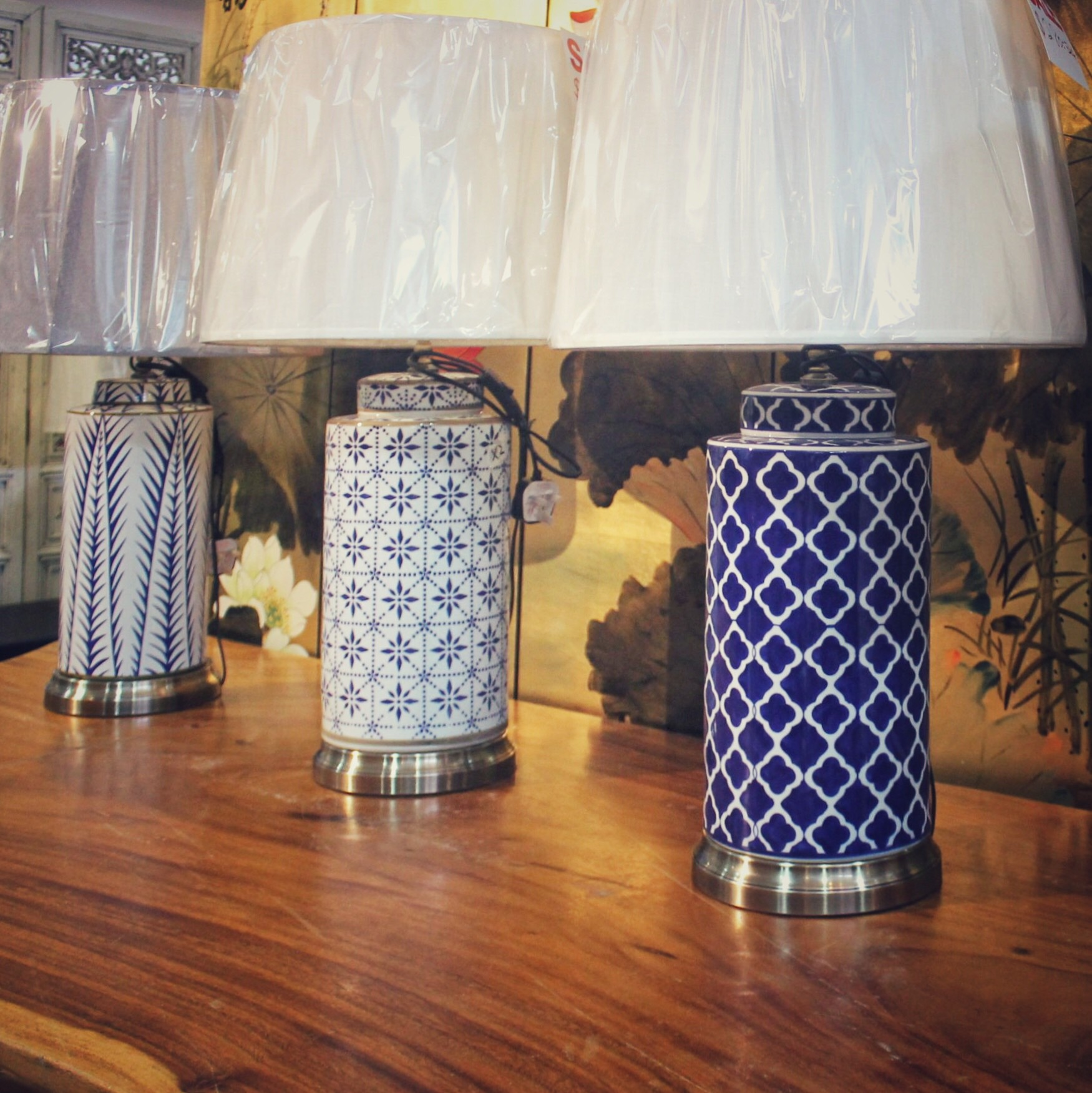Blue & white tall modern table lamps