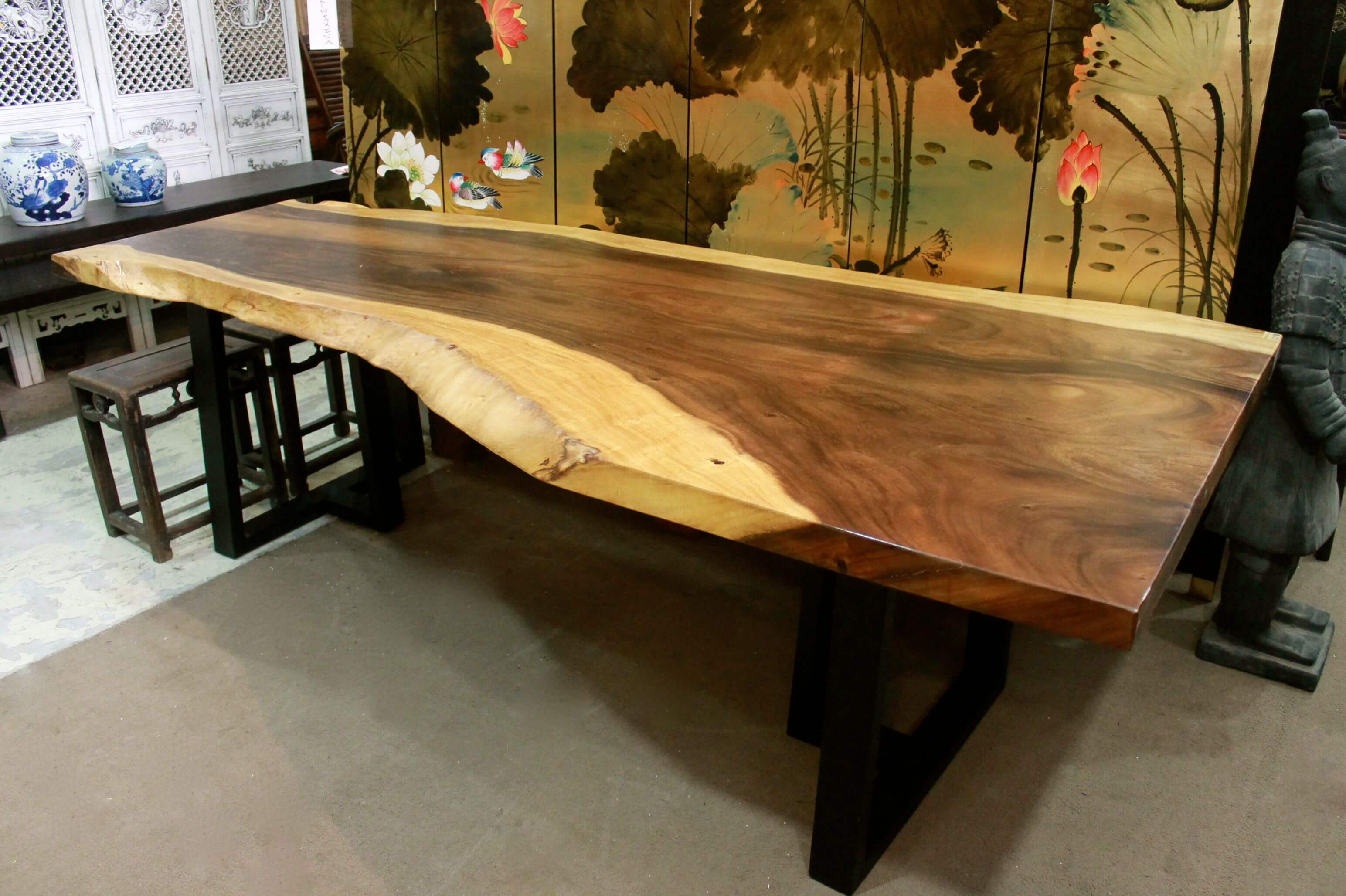 N 1932 Large Wooden Table Top With Metal Legs