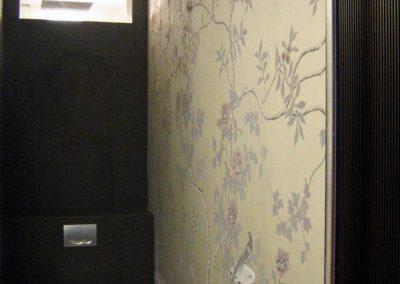 Handpainted silk wallcovering in powder room