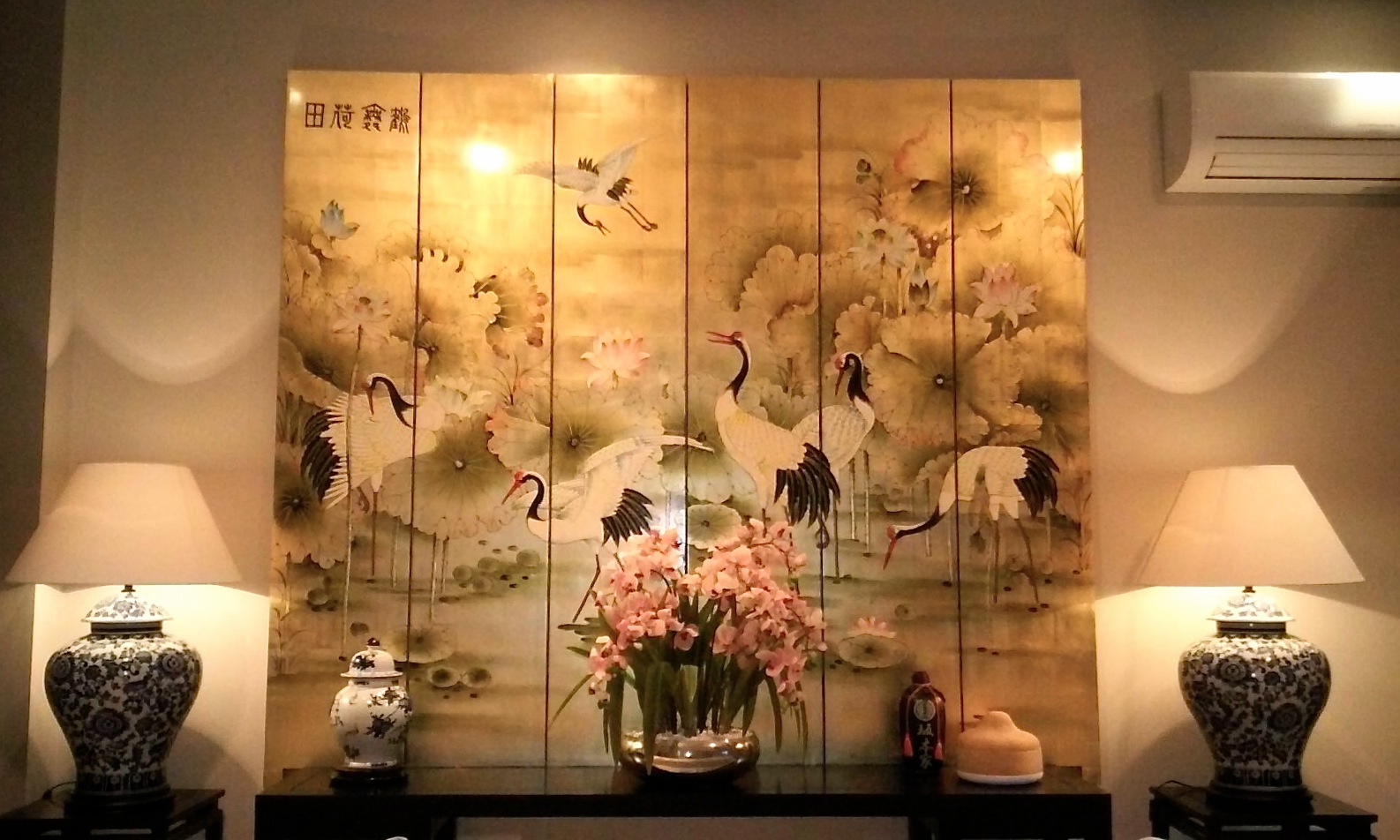 Gold leaf painted screen
