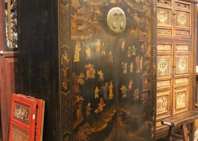Large black lacquer cabinet with children painting