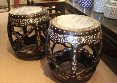 Wooden drum stools with mother-of-pearl inlaid patterns & marble top