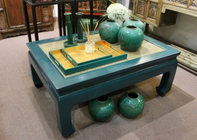 Oriental coffee table with rattan top