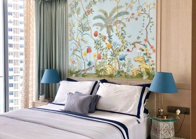 Customized handpainted silk wall-covering