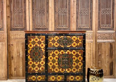 Black and yellow Tibetan-style cabinet
