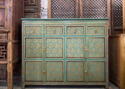 Turquoise and gold Tibetan-style cabinet