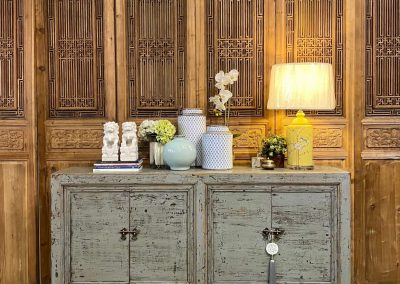 An antique Chinese distressed grey 4-door sideboard