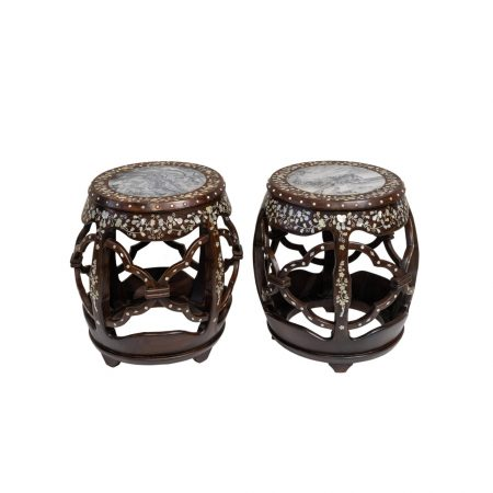 Mother-of-pearl inlaid drum stool