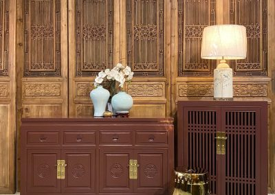 Modern Chinese sideboard and shoe cabinet in plum