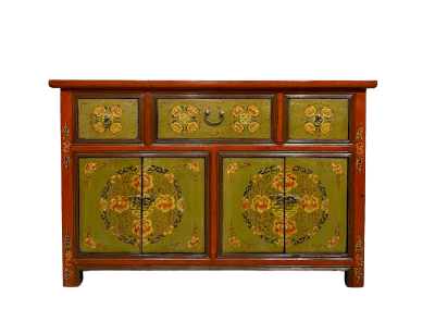 Deep orange and olive Tibetan-style painted sideboard