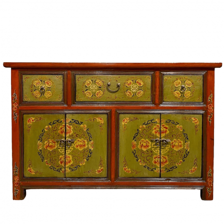 Tibetan-style sideboard in red and olive green