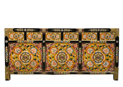 Colourful hand-painted Tibetan-style long sideboard