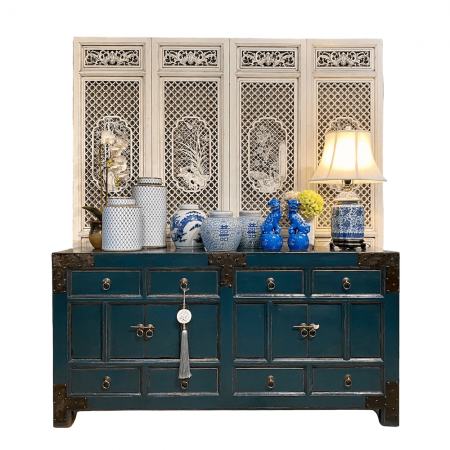 Chinese furniture Teal sideboard with iron motifs