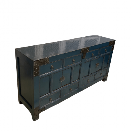 Chinese furniture Teal sideboard with iron motifs side view