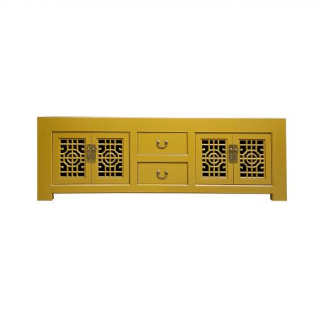 Chinese furniture storm Mustard TV sideboard with lattice doors