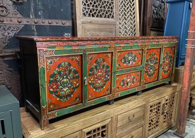 Hand-painted green and orange Tibetan-style low TV console