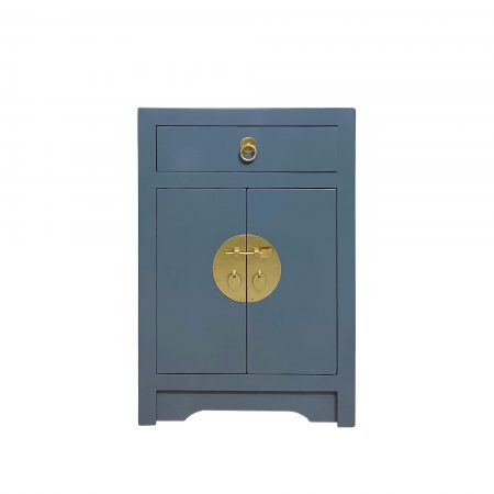 Deco blue chinese bedside cabinet