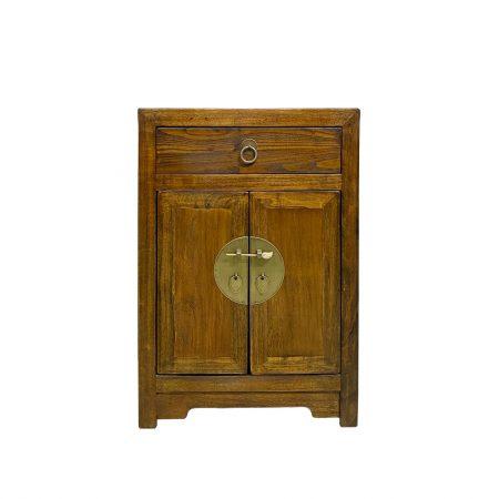 Elm dark brown chinese bedside cabinet
