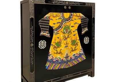 Black cabinet with painting of Emperor's robe