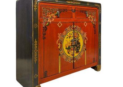 A navy and burnt orange Mongolian-style cabinet with scroll feet