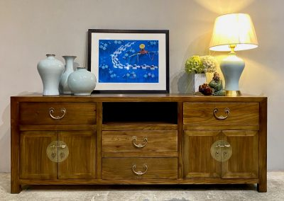 Brown Elm wood tv console
