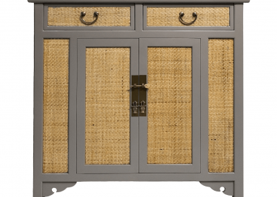 Chinese furniture rattan and cool grey medium cabinet