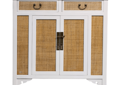 Chinese furniture rattan and white medium cabinet
