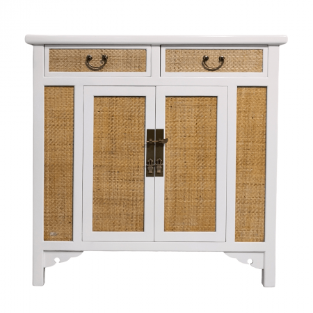 Chinese furniture rattan and white medium cabinet