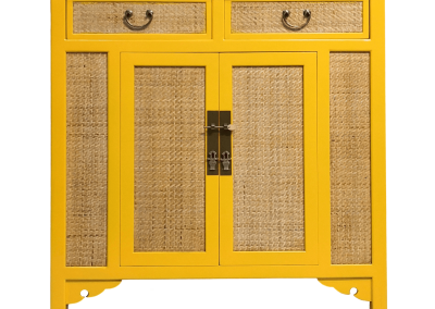 Chinese furniture rattan and canary yellow medium cabinet