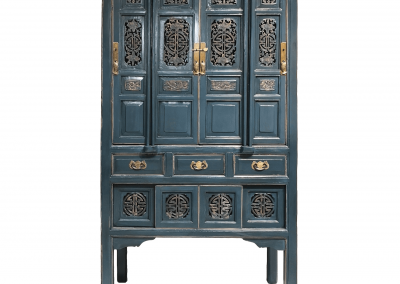 Chinese furniture antique kitchen cabinet in teal