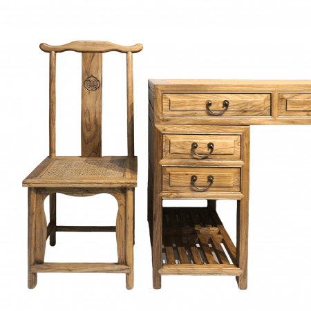 Chinese furniture Elm wood writing desk & chair