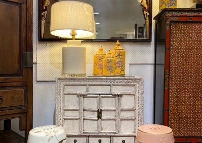Chinese furniture antique Shanxi cabinet in distressed white