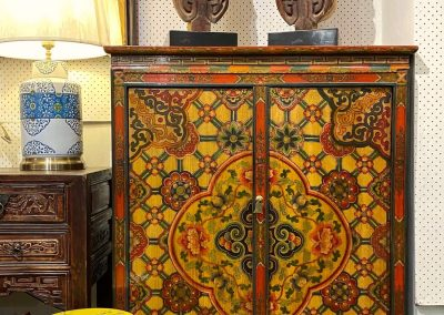 Chinese furniture Tibetan-style yellow painted cabinet