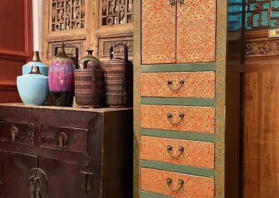 Tibetan-style tall slim cabinet