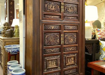 Chinese furniture tapered cabinet with old carvings