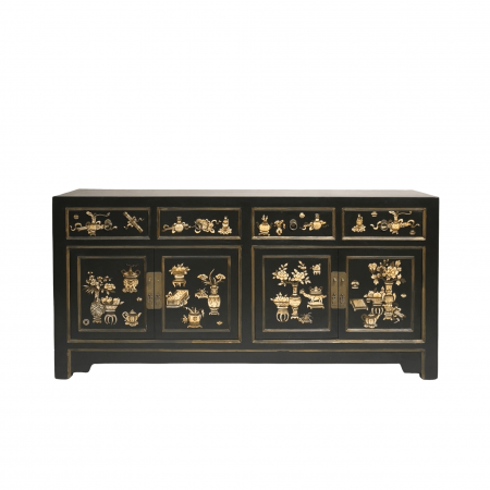 Chinese furniture black painted sideboard