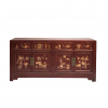Chinese furniture distressed dark red painted sideboard