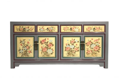 Chinese furniture hand-painted light grey and light yellow sideboard