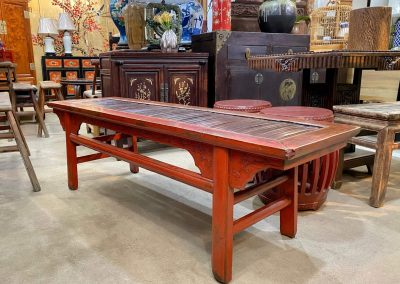 Chinese antique furniture red bench