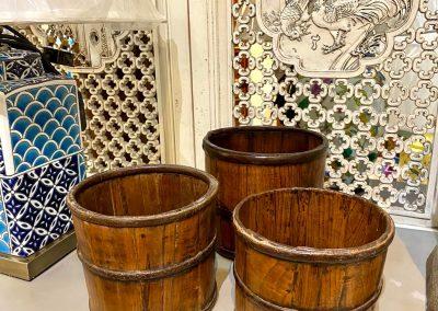 Antique furniture wooden bins