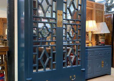 Chinese furniture dark blue cabinet