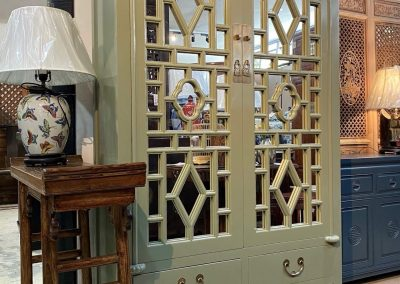 Chinese furniture sage green mirrored cabinet