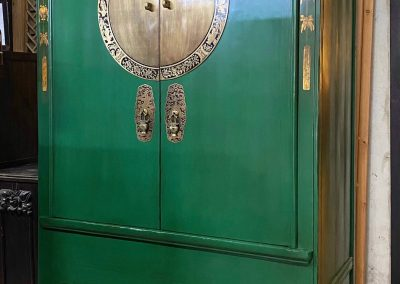 Chinese antique furniture green wedding cabinet