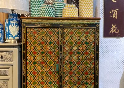Tibetan-style cabinet & ceramic jars