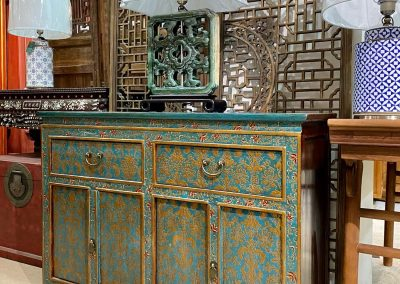Tibetan-style blue & gold sideboard
