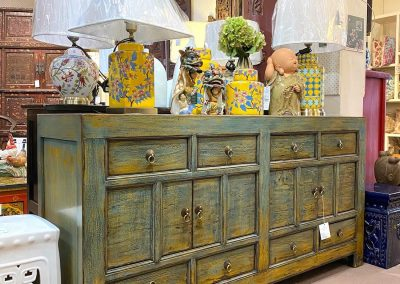 Chinese rustic sideboard in dirty blue & yellow